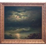 Dark Night Moonlight On Sea