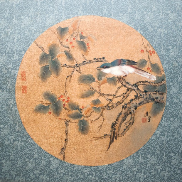 """Pair of Chinese silk paintings of Zhang Jianjun. """"The tiny blue bird sitting on a autumn tree branch."""""""