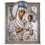 A Russian Antique 84 probe silver Icon of the Mother of God. 18th century