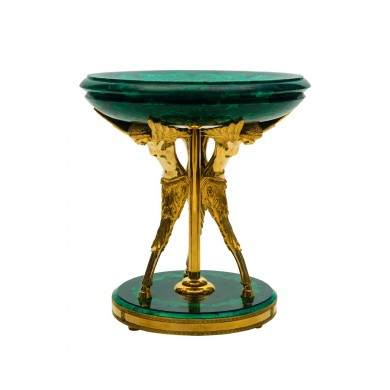Malachite Dish on gilt bronze tripod-pedestal...