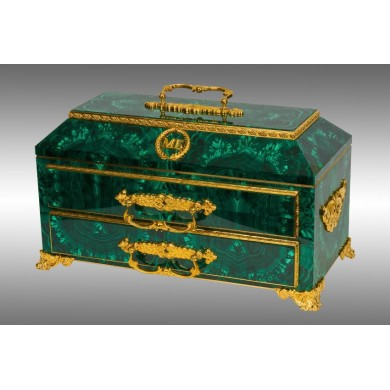 Malachite Bronze Jewelry Chest