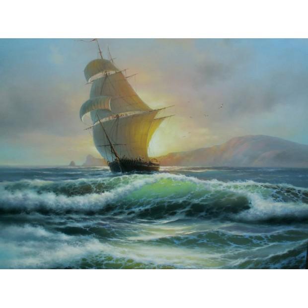 Sailing vessel on a wave crest